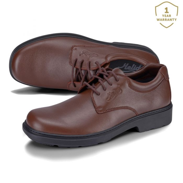 Lace Up Leather Work Shoes Brown-Junior